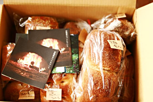 宗像堂のカタログと、宗像堂のパンたち。ひとつずつ袋に入ってます。