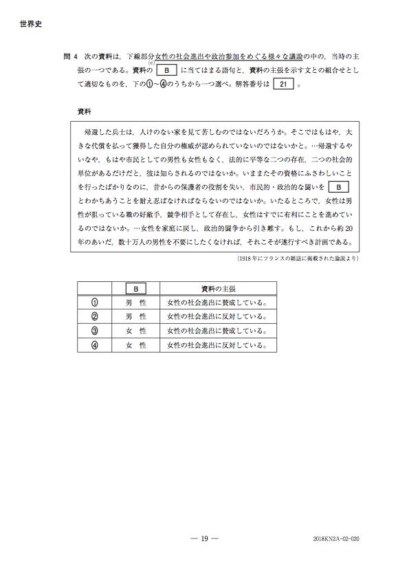 高認試験・世界史Aの問題